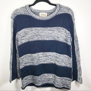 Anthropologie Pepin Navy Striped Knit Sweater